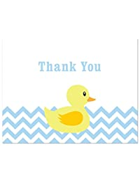 50 Cnt Blue Chevrons Yellow Duck Baby Shower Thank You Cards BOBEBE Online Baby Store From New York to Miami and Los Angeles