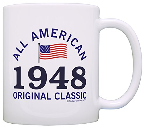 70th Birthday Gifts For All 1948 All American Classic Patriotic Gift Coffee Mug Tea Cup White (Mug White Coffee Classic)