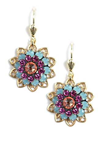 Clara Beau PacOp MultiColor Swarovski Glass Crystal Flower Cluster Goldtone Earrings EF77