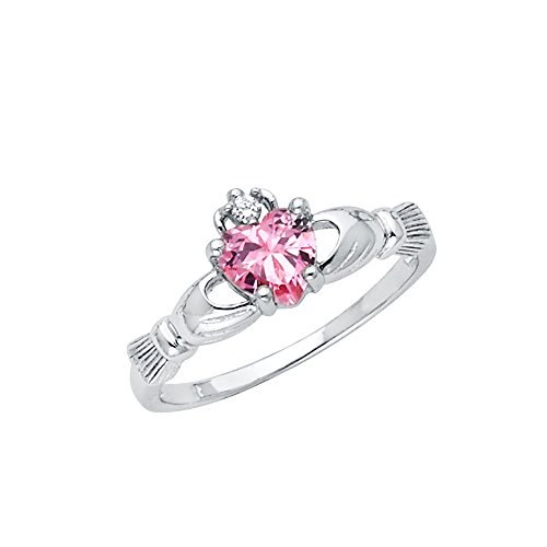 Wellingsale Ladies 925 Sterling Silver Polished Rhodium Simulated October Pink Color Heart CZ Irish Celtic Claddagh Ring, AAA Grade Highest Quality - Size 9