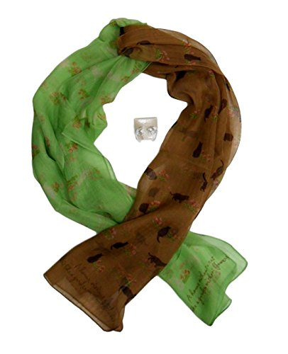 Best Green & Tan Cat Lover Collection Collector Wide Scarf with Kitty Earrings Fashion Scarves Top Unique Pretty Gift Idea for 2019 Teen Girl Teacher Gal Women Mom -