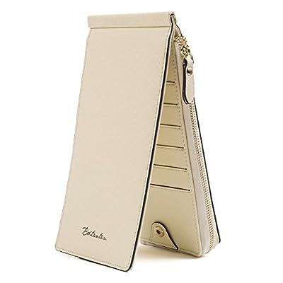 BOSTANTEN RFID Blocking Wallet Women Leather Credit Card Bifold Multi Wallet with Zipper Pocket