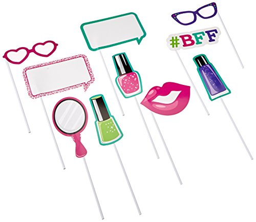 Creative Converting 10-Piece Assorted Photo Booth Props, Sparkle Spa Party!
