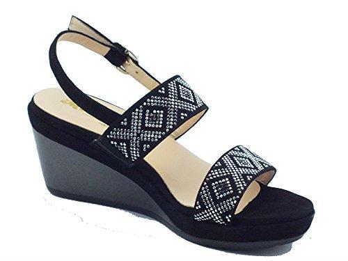 MELLUSO R70500 Nero Giglio - Sandalias de vestir de Piel para mujer negro
