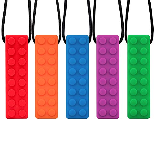 COCODE Sensory Chew Necklace for Boys Girls, 5 Pack Silicone Chew Pendant Training and Development Fidget Toy Chewing Necklace for Teething Babies, Autism ADHD SPD, Oral Motor, Autistic Children