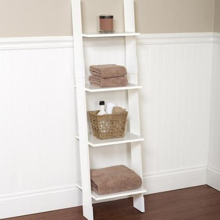 Hawthorne Bathroom Wood Ladder Linen Tower, White | 13.5