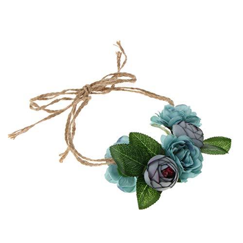 Women Flower Crown Wreath Rose Headbands Garland Garland Headpiece |Color - Blue| ()