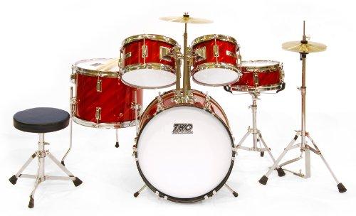 tko-tko101pr-5-piece-complete-junior-drum-set-prism-red
