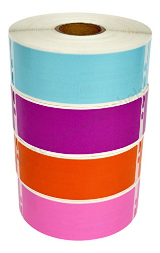 Ships Fast 4 Rolls; 1 Roll of Each Color, 350 Labels Per Roll of DYMO-Compatible 30252 Blue, Purple, Orange, and Pink Address Labels (1-1/8 x 3-1/2) - BPA Free!