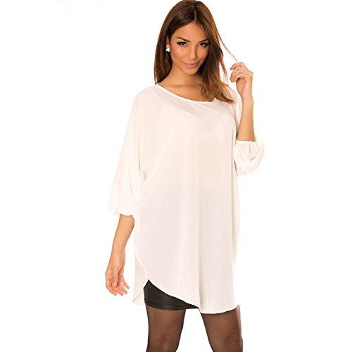 Miss Wear Line - Tunique asymétrique blanc à manche chauve souris, tunique ample