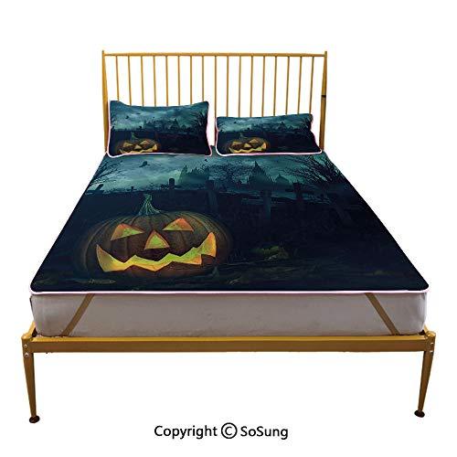 Halloween Creative King Size Summer Cool Mat,Halloween Pumpkin in Spooky Graveyard Eerie Gloomy Stormy Atmosphere Sleeping & Play Cool Mat,Petrol Blue Yellow]()