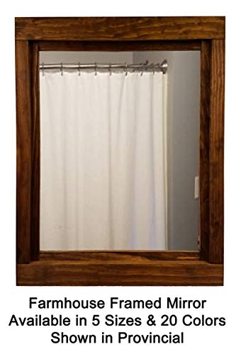 Farmhouse Large Framed Mirror Available in 5 Sizes and 20 Stain Colors: Shown in Provincial- Large Wall Mirror - Rustic Decor - Bathroom Mirror - Vanity Mirror - Wall Mount Mirror