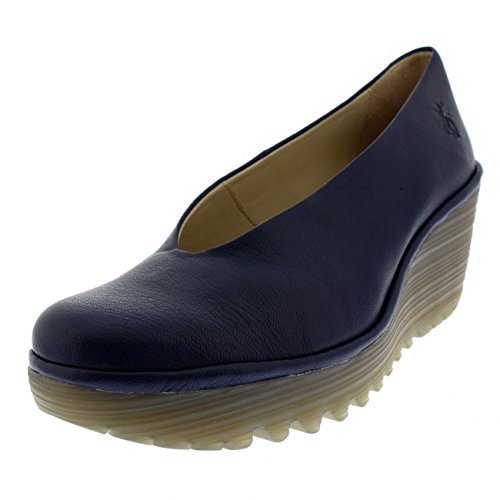 Womens Fly London Yaz Mousse Summer Leather Casual Work Shoes Wedge Heel - Blue - 8