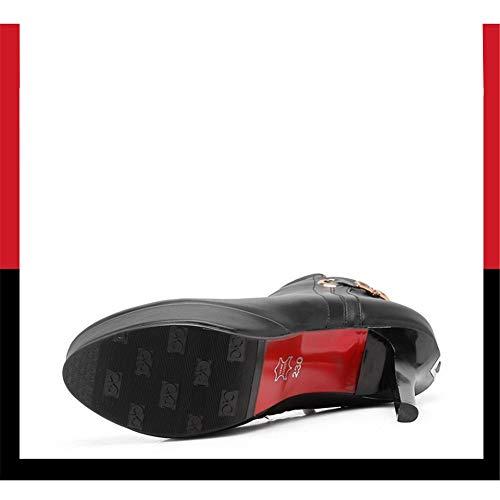 Stivali Catenin Tacco Stiletto Scarpe Personalizzato Alto Metallo Impermeabile Fibbimartin Ddonna Nero Cernierlaterale Shirloy Uw50w