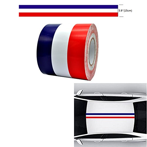 - AZQKJ 1M Racing Car Body Side Stripe Decal Sticker For Most car or Interior Decoration(Blue+White+Red)