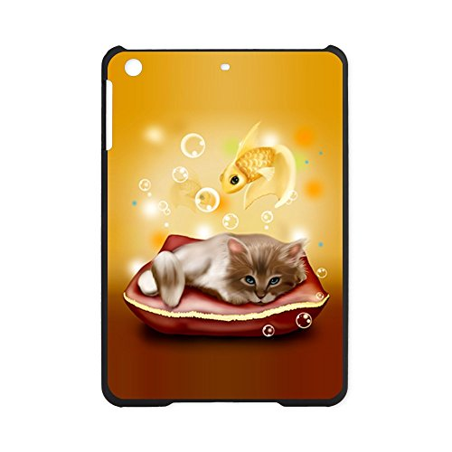 iPad Mini Case Black Kitten with Goldfish Dreams