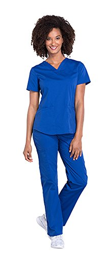 Cherokee Workwear Professionals Women's V-Neck Top WW665 & Women's Pull-On Cargo Pant WW170 Scrub Set (Galaxy Blue - Small)