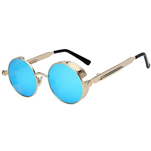 Steampunk Retro Gothic Vintage Colored Metal Round Circle Frame Sunglasses Colored Lens OWL (SteamPunk_C7_Gld_Blu_Mrr, PC Lens)