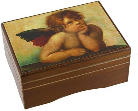 Caja de música / caja musical de madera con compartimento y imagen de un ángel de Rafael Sanzio (891361N) - El lago de los cisnes (P. I. Chaikovski): Amazon.es: Hogar