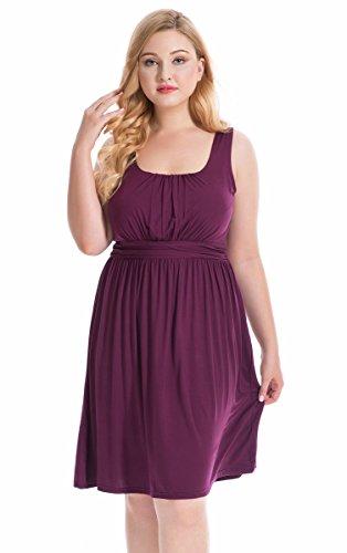 Lacle Women Plus Size Sleeveless Short Dress (Burgundy 1X)