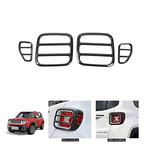 RT-CTZ Set of 4pcs Tail Light Cover Tail Lamp Rear Guard For 2015-2018 Jeep Renegade (Black)