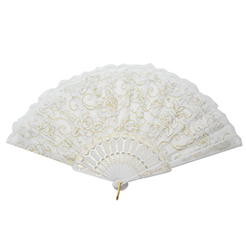 TRENDBOX Flower Rose Lace Handheld Chinese Folding Fan for Dancing Ball Parties Ladies - Pure White