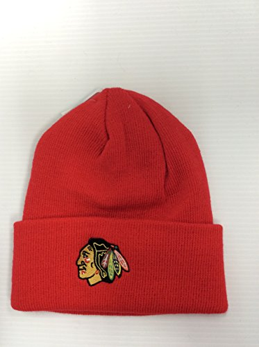 Adult Reebok Hat Equipment - Chicago Blackhawks Red Cuffed Beanie Adult Reebok Winter Hat