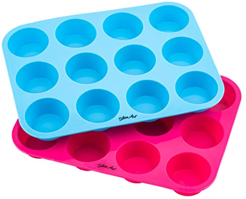 Premium Quality 2-Pack Silicone Cupcake Baking Cups in Blue and Pink | 12-Cup Non Stick Silicone Muffin Pans with Standard Size Silicone Molds | Professional Grade Heavy Duty 310g | Kitchen Bakeware