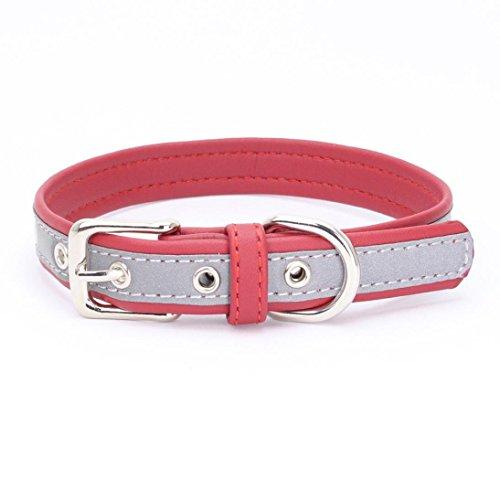 EEL Adjustable Reflective Microfiber Leash Dog Harness Head Rivet Collar Big Medium Dog (L, Red) (Custom Designer Dog Collar Collars)