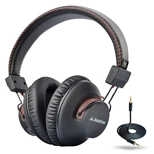 Avantree 40 hr Wireless Wired Bluetooth Over Ear Headphones with Mic for TV Watching, Foldable, Extra Comfortable & Lightweight, HiFi Stereo Headset for PC Computer Laptop Cell Phone - Brown