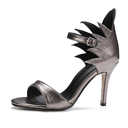 WZG Verano nuevas sandalias de tacón alto con los dedos abiertos finos tacones de 9 cm tacones gray