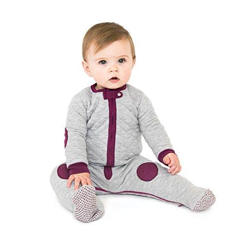Cotton Footie Pajamas (baby deedee Sleepsie Cotton Quilted Footie Pajama, Heather Gray/Mauve, 12-18 months)