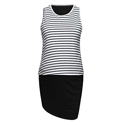 - Nevera Women Maternity Tank Dress Stripe Color Block Sleeveless Knee Length for Baby Shower Black