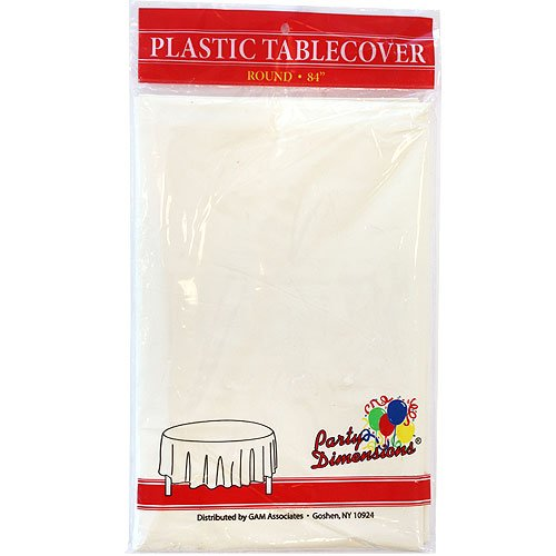 Party Dimensions 84-Inch Plastic Round Tablecover, Full, Ivory