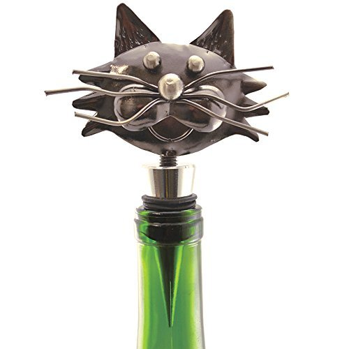 Decorative Whimsical Metal Kitty Cat Wine Bottle Stopper With Rubber Seal ()