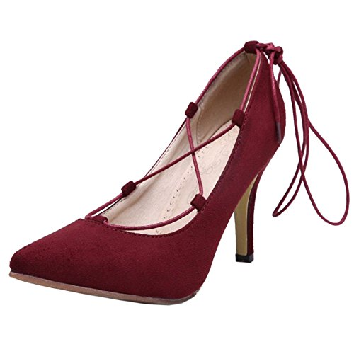 COOLCEPT Women Fashion Stiletto Pumps Gladiator Lace Up Leopard Party Shoes Wine Red QVAzXNme