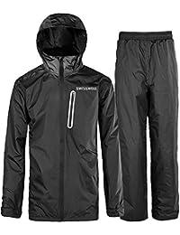 Men's Rain Suit Waterproof Lightweight Hooded Rainwear for Golf,Hiking,Travel (Jacket & Trouser Suit)