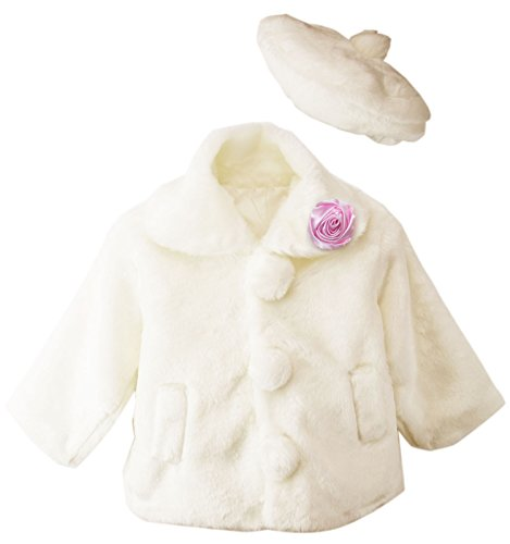 Spring Notion Little Girls Faux Fur Coat with Hat Ivory/Pink size 2 by Spring Notion