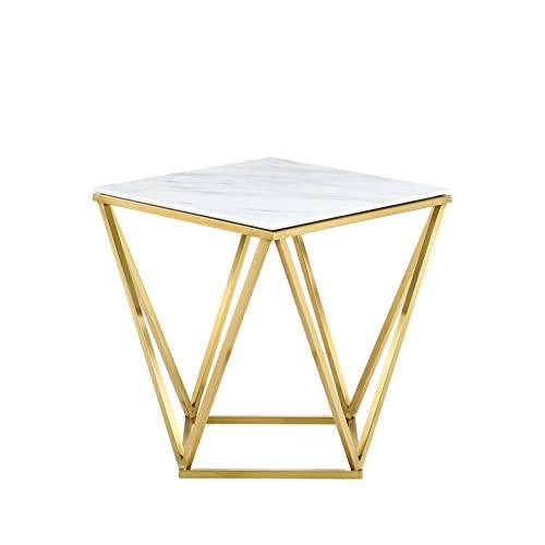 """Meridian Furniture 216-E Mason Rich Gold Stainless Steel End Table with Marble Top, 20"""" L x 20"""" D x 22"""" H, Gold"""
