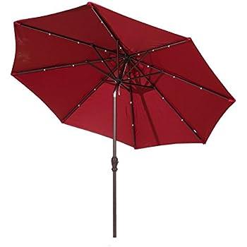 Abba Patio 9u0027 Round Aluminum Solar Powered 24 LED Light Patio Umbrella With  Tilt And Crank, Dark Red