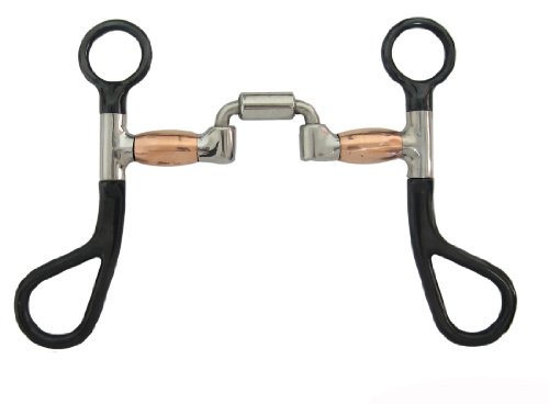 Colt Training Bit - Black Steel Colt Horse Training Bit Hinged Correction Mouth Copper Barrels