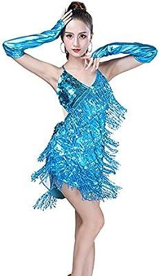 WWSUNNY Vestido Baile Latino,Vestido Baile Latino NiñA,Lentejuelas ...