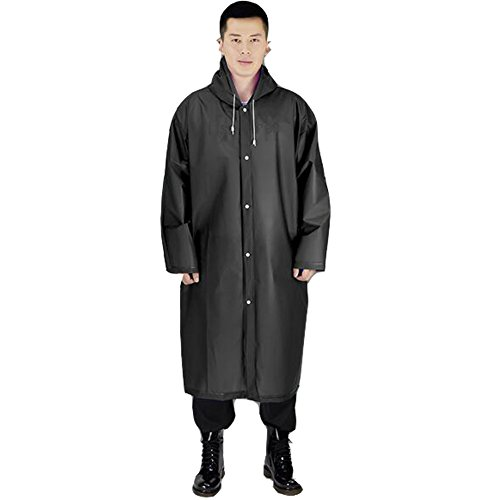 Black Long Raincoat - 1