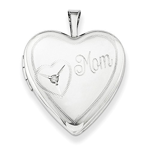 925 Sterling Silver 20mm Mom Diamond Heart Photo Pendant Charm Locket Chain Necklace That Holds Pictures W/chain Fine Jewelry Gifts For Women For ()