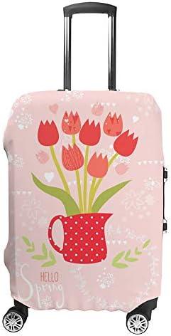 スーツケースカバー トラベルケース 荷物カバー 弾性素材 傷を防ぐ ほこりや汚れを防ぐ 個性 出張 男性と女性装飾用の花瓶に美しいチューリップ