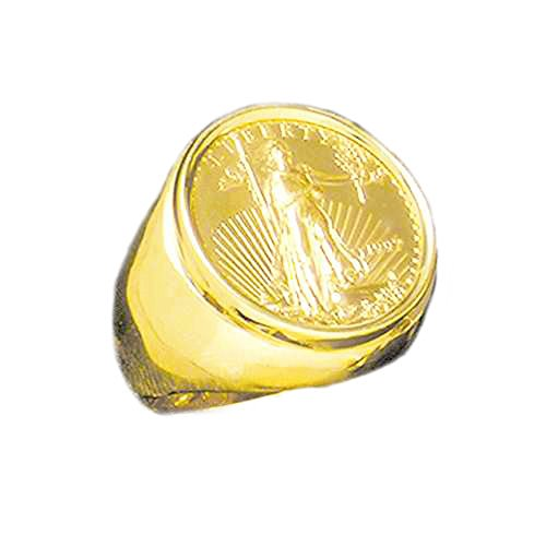 22K-14K Fine Gold 1/4 Oz Us Amreican Eagle Coin In Heavy 25 Mm 14K Gold Ring (1975 (Ring Coin Eagle)