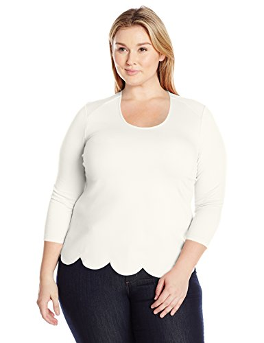 Melissa McCarthy Seven7 Women's Plus Size Skimmer Top With Scallop Detail, Off White/Egret, 3X (Skimmer Plus)