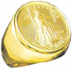 22K-14K Fine Gold 1/4 Oz Us Amreican Eagle Coin In Heavy 25 Mm 14K Gold Ring (1975