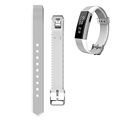 ArrKn Heart Rate Monitor Accessory Silicone Replacement Bands Watch Buckle Design for Fitbit Alta Adjustable Free Size - No Trackers (2Pieces - White / Coffee)