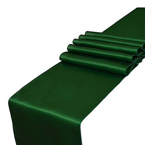 OHogar Forest Green Table Runner Packs of 10 12×108 inches Satin Table Runners for Party,Wedding,Banquet,Birthday,Decoration,Reception,Event,Shower,Silk&Smooth Seam Edges Fabric Fit Long,Round Tables
